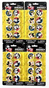 "4 Packs Disney 90 Years Of Magic ""Mickey The True Original"" 8 Pencil Top Erasers"