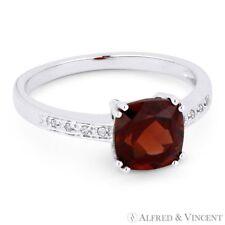 Diamond Right-Hand Ring 14k White Gold 1.82ct Cushion Cut Garnet Gemstone Round