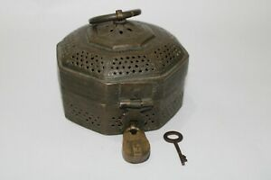 Old solid brass MUGHAL JALI CUT jewelery / coin box chest with lock & key