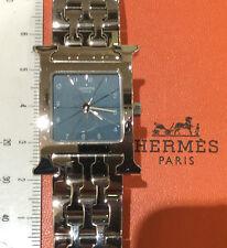 Hermes Paris Heure H 1.210 orologio nuovo acciaio quarzo quadrante azzurro