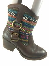 SH30 Lucky Brand 6.5 Brown Leather Southwestern Blanket Buckle Ankle Boot