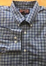 #S23 Duluth Trading Co XXL 2XL Blue Plaid Button Down L/S Cotton Shirt Pocket