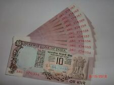 - INDIA PAPER MONEY - 10 X RS 10/- OLD  NOTES - R.N.MALHOTRA - RARE - D-38 # AA3