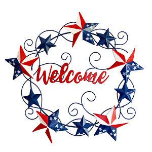 Metal American Star Front Door Wreath 4th of July Hanging Welcome Sign