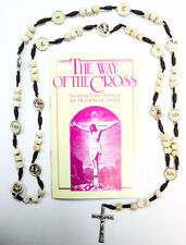 Stations of the Cross Rosary made of stone Medjugorje +book The Way of the Cross