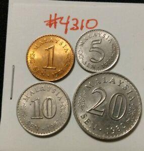 🇲🇾 (4) Malaysia Coins 1971 1-, 1973 5-,  1967 10-, & 1982 20- Sen Coins 🇲🇾