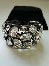 Kenneth Jay Lane KJL Gunmetal and Swarovski Crystal Cuff Bracelet - STUNNING