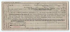 Minneapolis Threshing Machine Co. Saskatchewan, promissory note, 1926 Regina
