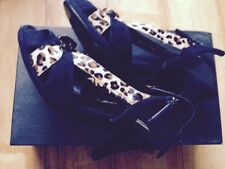 New Authentic Sonia Rykiel Black Animal Print Jewel Sandals Heels EU39