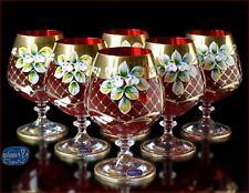 "Bohemia Glass Brandy Glasses 14 cm, 400 ml, ""Izabella"" Rubin 6 pc New!"