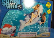 Shark 30th Week Discovery Inflatable Pool Lounge Over 7 Ft Long