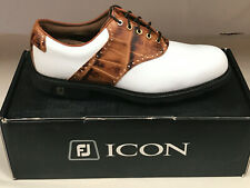 NEW FootJoy Icon 52013 White/Brown Croc Men's Golf Shoes 9M Were $350