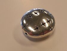 Oval Carved Bead CCB Style - Acrylic, Antique Silver, 32x29x14mm, Hole: 1.5mm