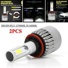 2PCS DC 9-32V H8/H9/H11 6000K 135000LM LED Headlight Bulbs Kits High Low Beam