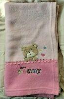 Carter's Child of Mine Pink Bear Baby Blanket I Love Mommy Fleece Hearts Soft