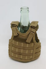Military Tactical Mini Vest Soda Beer Bottle Coozie Coolie Koozie - Coyote Tan