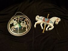 2 Carousel Horse Items 1 Round Stained Glass Suncatcher 1 Homeco Plastic  R