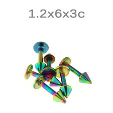 6 pcs 16G 6 mm Rainbow Anodized Lip Labret with 3 mm Cone Body Piercing jewelry