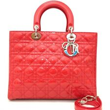 Christian Dior Cannage Lady Red Patent Leather Large Hand Bag Shoulder Strap /41