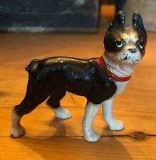 Antique Hubley Cast Iron Dog Boston Terrier Paperweight Size 3""