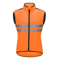 WOSAWE Sleeveless Cycling Wind Vest Breathable Reflective Gilet Men Women Orange