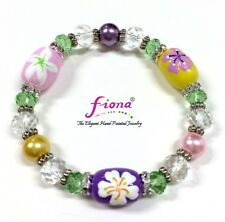 """Multi Blossom Flowers Women Spring Beaded Stretch Bracelet 7.50"""" New w Gift Bag"""
