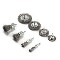 8Pcs 0.3mm Stainless Steel Wire Wheel Set Metal Clean Rust Sanding Brush Shank