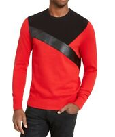 INC Mens Sweater Red Size 2XL Faux-Leather Ribbed Colorblock Crewneck $59 244