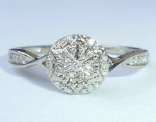 9ct White Gold 0.10ct Diamond Cluster Ring, Size S