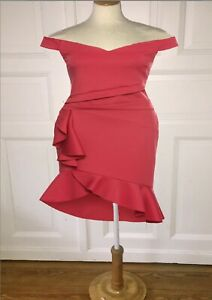 207. sexy Carmenkleid mit Rüschen Volants schulterfrei Flamenco Style rot Gr. 46