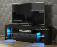 Modern 130cm TV Unit Cabinet Stand Black Matt and Black High Doors Gloss + LED