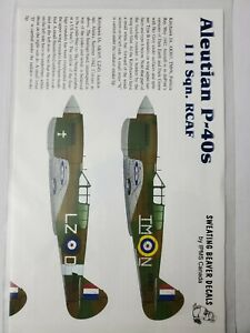 Sweating beaver decals IPMS Canada Aleutian P-40's 111 sqn. RCAF 1/48 decals