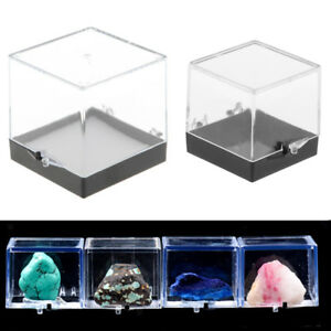 Clear Display Show Case Acrylic Box   for Rock Mineral Collections 2pcs