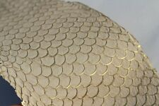 authentic Asia Carp Fish Skin Hide Leather Craft Supply Gold Metallic