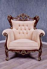 Barock Sessel Königsthron Stuhl Antik Massiv braun gold creme Stil Polstermöbel
