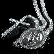 14k White Gold 1 Row CZ ICED OUT ROSARY Jesus Cross Charm Necklace Chain Hip Hop