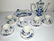 17pc Lot Vtg Delft Blauw - Hand Painted Demitasse set Pot 6 Tea Cup & Saucer C&S