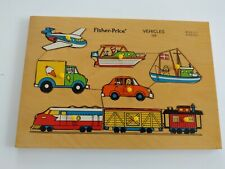Vintage Fisher Price Vehicles #508 Wood Puzzle 8 pieces