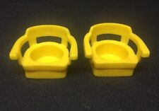 (BB) 2 Fisher Price Little People Vintage Yellow Replacement CHAIR; Free US Ship