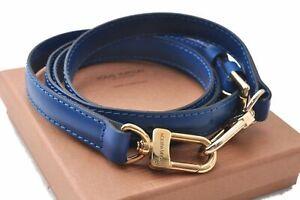 """Authentic Louis Vuitton Leather Shoulder Strap Blue 40.4-47.2"""" Box LV D0178"""