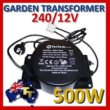 OUTDOOR GARDEN LIGHT TRANSFORMER 12VAC 500 WATT HBF-500B  IP66 Waterproof
