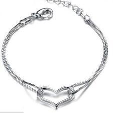 Femmes Mode Argent Bracelet coeur d'amour Chain Link Bangle Jewelry