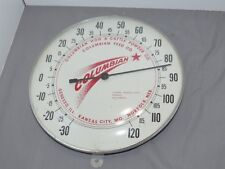 Vintage COLUMBIAN Hog & Cattle Powder Feed Company Glass Pam Thermometer MO NE I