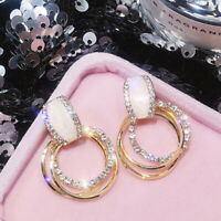 Women Crystal Statement Dangle Drop Hoop Earrings Ear Studs Wedding Jewelry TT