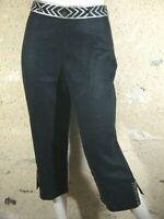 AFFINITES ARMAND THIERY Taille 40 Superbe pantacourt noir femme lin corsaire