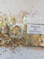 Nail Art Glitter ( Party On )10g Bag Chunky Gold Silver Champagne 4 Angled Star