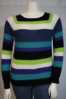 Chaps Misses LARGE Blue Navy Green White Stripe LS Pullover Ribbon Knit Sweater