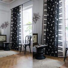 Piano Print Curtain Living Bedroom Tassel Window Treatment Drapes Curtains Decor