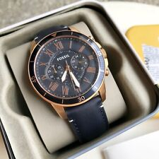 Fossil Watch * FS5237 Grant Sport Chrono Rose Gold & Blue Leather Men COD PayPal