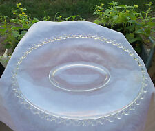 "Crystal Candlewick Oval Platter 12"" # 400-124 Beaded Edge , Large Center"